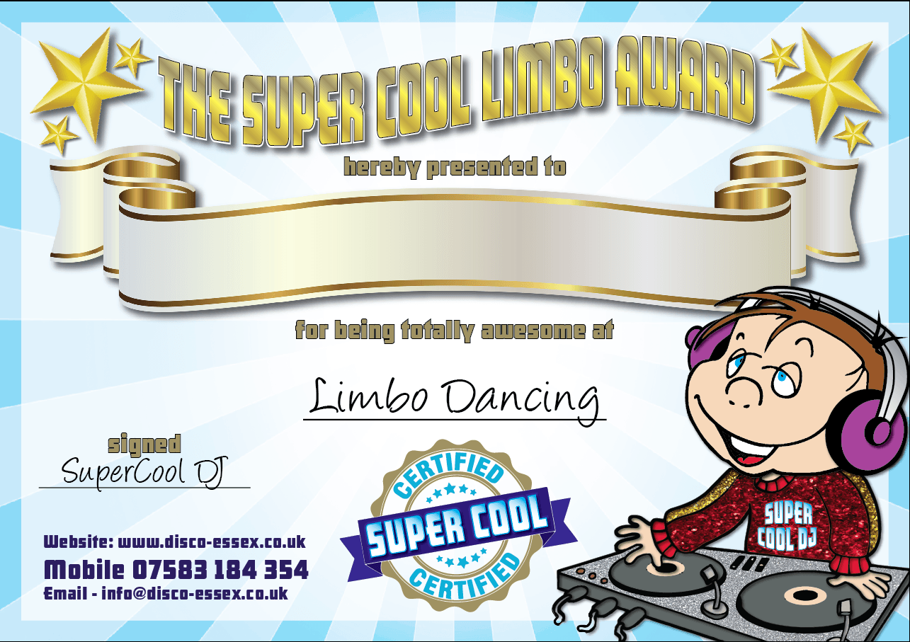 Check out our Brand New Limbo Dancing Certificates